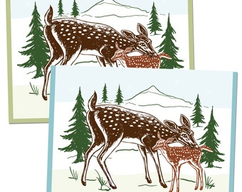 Box of 6, A2 Fawn Deer Greeting Cards, blank inside, original baby animal tundra woodland design, recycled paper, made in Portland Oreogn