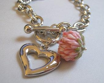 Heart and Glass Charm Bracelet  - Rhodium and Handmade Lampwork - Pink Mum Blossom (B-83)