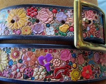Pastel Flower Garden  Leather Belt with Black Border  and Critters made in GA USA