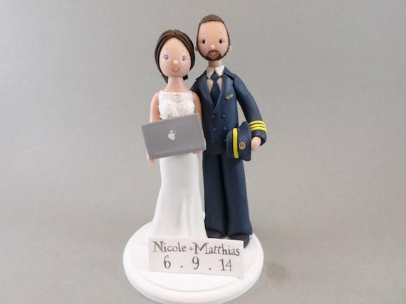Pilot Amp Computer Geek Customized Wedding Cake Topper