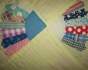 Vintage Cutter Quilt Pc,Pastels,Feedsack Fabrics,Fan Pattern,Yellow