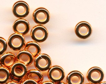 Vintage Lot of 48 Copper Coated DONUT Spacer Beads 6X2MM  BL3