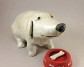 H.U.N.G.R.Y....Dog Sculpture in Stoneware