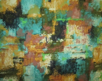 Fab Vintage Fabric Abstract Teal Turquoise Brown Olive Black 3 yards
