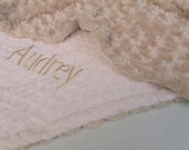 Caramel Rose Swirl and Ivory Cream Minky Baby Blanket, 3 sizes Can Be Personalized