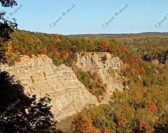 Letchworth State Park, NY, Gorge Autumn Foliage Original Fine Art Photography Print