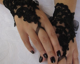 Bridal Wrist Cuffs, Black Lace Gloves