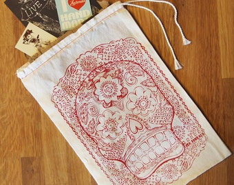 "GIFT BAG / 8x11"" - Day of the Dead - Hand Printed Drawstring Reusable Cotton Bag"