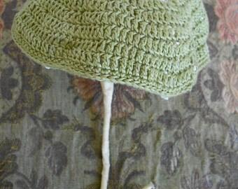 1950's Whimsical Sage Green Hand Crochet Umbrella