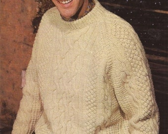 """PDF Knitting Pattern Mens Knitted Round Necked Aran Patterned Sweater 34-44"""""""