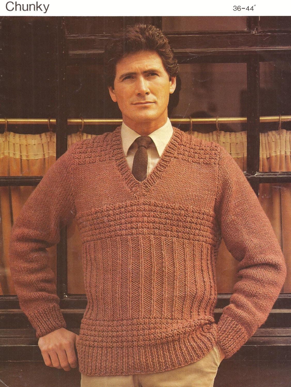 PDF Knitting Pattern Mens V Neck Raglan Chunky Knit Sweater