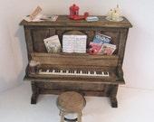 Dollhouse piano and stool, Honky tonk Piano, Piano, Dark oak piano, dollhouse miniature, twelfth scale,
