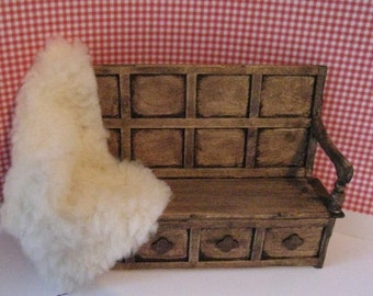 "Dollhouse Tudor Settle, ""sheepskin"" throw, settle, bench,  dollhouse miniature , twelfth scale"