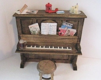 Dollhouse piano and stool, Honky tonk Piano, Piano, Dark oak piano, dollhouse miniature, twelfth scale,