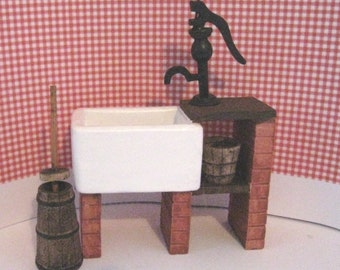 Dollhouse sink, Country style sink, stone sink ,kitchen accessories, a twelfth scale dollhouse miniature