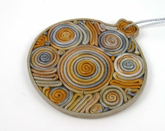 Silver and Gold Spirals Ornament, classic round shape, metallic polymer clay, decorative gift tag