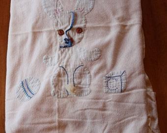 On Sale Vintage Soft Cotton Baby or Child's Blanket,  Appliqued Bunny Rabbit