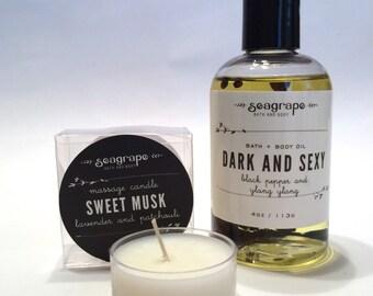 Massage Gift Set. Sensual Massage Oil  and massage candle.