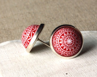 Simple red earrings, Red White Mosaic 12mm cabochon, STUDS or CLIPS Scandinavian Style Vintage carved posts or Clip-on Earrings E622