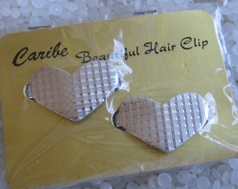 vintage barrettes, textured silver tone hearts, old store stock from the 70s