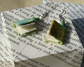 Miniature Book Earrings in Light Green