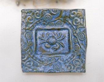 Crab Trinket Dish Blue Sponge Holder Dish Handmade Art Pottery