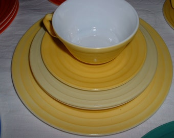 Hazel Atlas Vintage 1940 Moderntone Sunny Yellow plates and cup and saucers