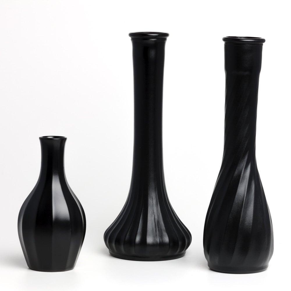 black vases vintage milk glass vase set of 3 upcycled. Black Bedroom Furniture Sets. Home Design Ideas