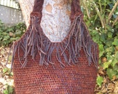 Fringe Crocheted Straw and Leather Bag