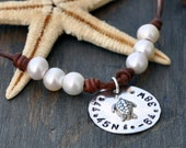 Pearls and Leather Longitude Latitude Nautical Code 6 Pearl Charm Necklace