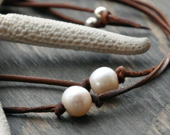 Pearl and Leather Bracelets One to Keep and One to Share Pearls of Friendship