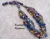 Ladder Yarn Necklace, Blue, Mauve, Pink, Gold and Silver Ribbon Necklace, Crocheted Ribbon Necklace, Fiber Jewelry (Ready to Ship)