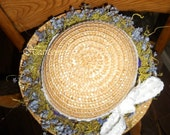 Childs or adult adult hat bonnet wreath purple green natural look moss  Victorian country