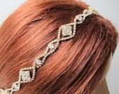 Rhinestone Gold Beaded Bridal  Headband  Wedding Accessories Headpiece Head Piece