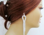 Crystal Bridal Earrings Wedding Chandelier 5 Inches Extra Long Earring  Rhinestone