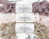 Seam Binding, Ribbon, Scrunched, Shabby Crinkled, Rayon ribbon,Cream, Taupe, Vintage Junk Journals, Gift Wrap, Quilting, Parisian Macoron