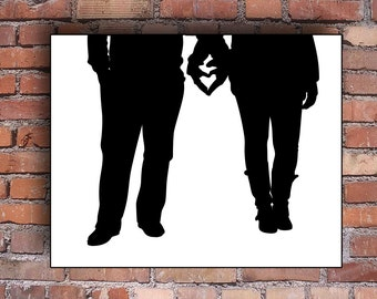 Custom Silhouette -  Full Body Wedding Couple Portrait - Unframed Art Print - Personalized Handmade - Beautiful Sweetheart Gift - keepsake