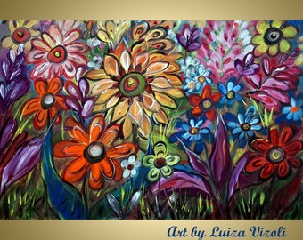 "Flowers Fall Summer Original 36"" Oil Painting WHIMSICAL FLOWERS Colorful GARDEN Modern Wall Decor by Luiza Vizoli"