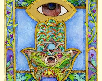 HAMSA. Decorative Wall Art. Eye. Judaica. Spiritual Feng Shui Symbol. Protection from Evil Eye. Good Fortune. Wedding Happiness. Chamsa Hand