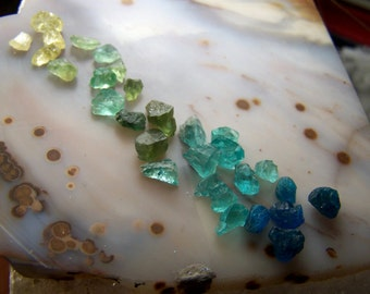 Apatite crystal lot - rainbow spectrum of Apatite gemstone pieces chips - yellow light green dark Electric Blue teal - lot coyoterainbow