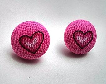 Pink Heart Fabric Button Ear Studs
