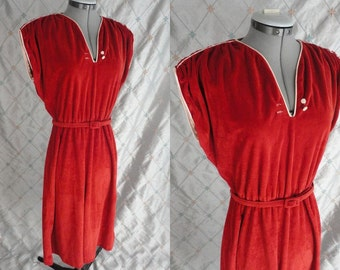 70s Dress //  Vintage 1970s Rust Brick Red Velour Dress with Ivory Trim Size M L