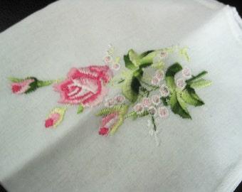 Vintage Pink Rose Embroidered Hanky/Handkerchief Unused