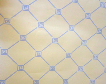 Vintage Wallpaper Roll Wall Paper Art Deco Geometric Design 1960s Butter Yellow Silver
