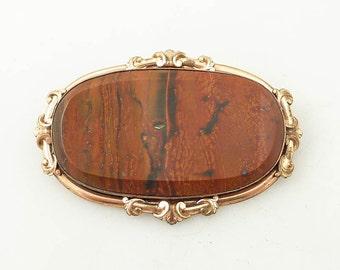 SALE --- Huge Antique Victorian Jasper Gold Filled Brooch