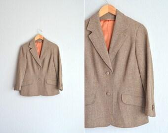 SALE / vintage '70s/'80s brown TWEED tailored BLAZER. size s m.