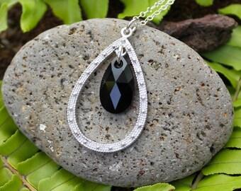 Jet Crystal and Silver Teardrop Chandelier Necklace - Black swarovski crystal teardrop, sterling silver chain - free shipping USA