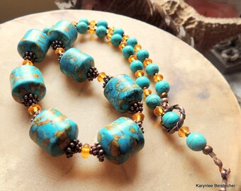 Chunky Mosaic Turquoise and Copper Statement Necklace, Turquoise and Amber Southwestern Style Necklace, Cowgirl Gemstone Jewelry