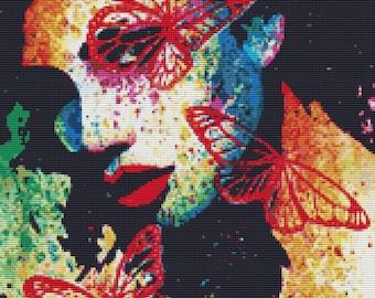 Modern Cross Stitch Kit By Carissa Rose 'Fury' - Pop art tattoo with butterflies cross stitch