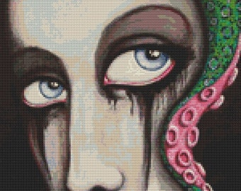 Modern cross stitch by Shayne of the Dead 'Marah' - Counted cross stitch kit - Octopus Hair